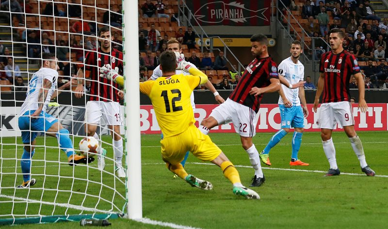 Soccer Football - Europa League - AC Milan vs Rijeka - San Siro, Milan, Italy - September 28, 2017   AC Milan's Mateo Musacchio scores their second goal    REUTERS/Stefano Rellandini