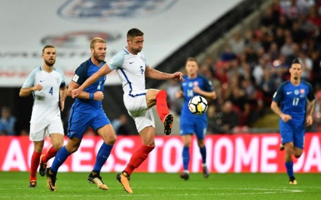 England's defender Gary Cahill (C) passes the ball during the World Cup 2018 qualification football match between England and Slovakia at Wembley Stadium in London on September 4, 2017.  / AFP PHOTO / Glyn KIRK / NOT FOR MARKETING OR ADVERTISING USE / RESTRICTED TO EDITORIAL USE