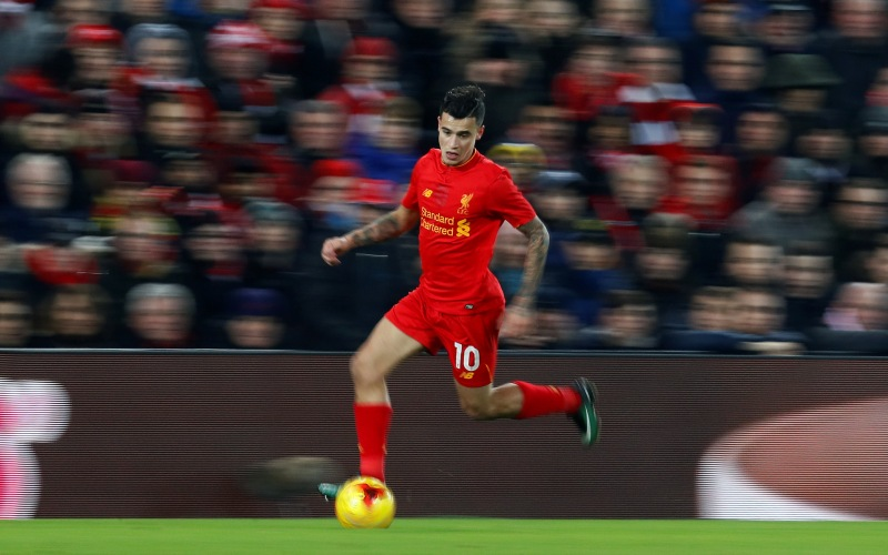 """Britain Football Soccer - Liverpool v Southampton - EFL Cup Semi Final Second Leg - Anfield - 25/1/17 Liverpool's Philippe Coutinho in action Action Images via Reuters / Jason Cairnduff Livepic EDITORIAL USE ONLY. No use with unauthorized audio, video, data, fixture lists, club/league logos or """"live"""" services. Online in-match use limited to 45 images, no video emulation. No use in betting, games or single club/league/player publications.  Please contact your account representative for further details."""